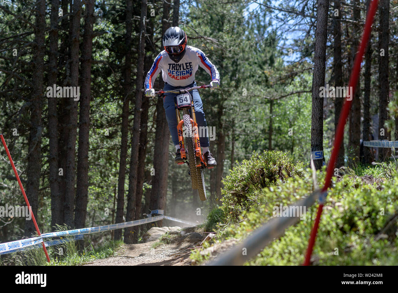 VALLNORD, ANDORRA  - JULY 5 2019:  CYCLIST in the MERCEDES-BENZ UCI MTB WORLD CUP 2019 - DHI Vallnord, Andorra on July 2019 - Stock Image