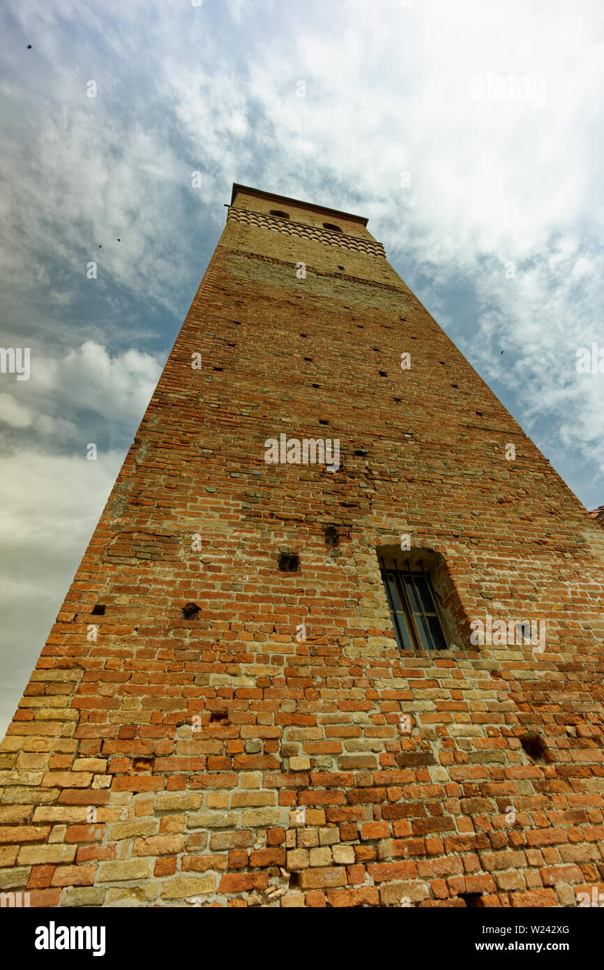 Brick tower of Serralunga d'Alba castle (castello) Stock Photo