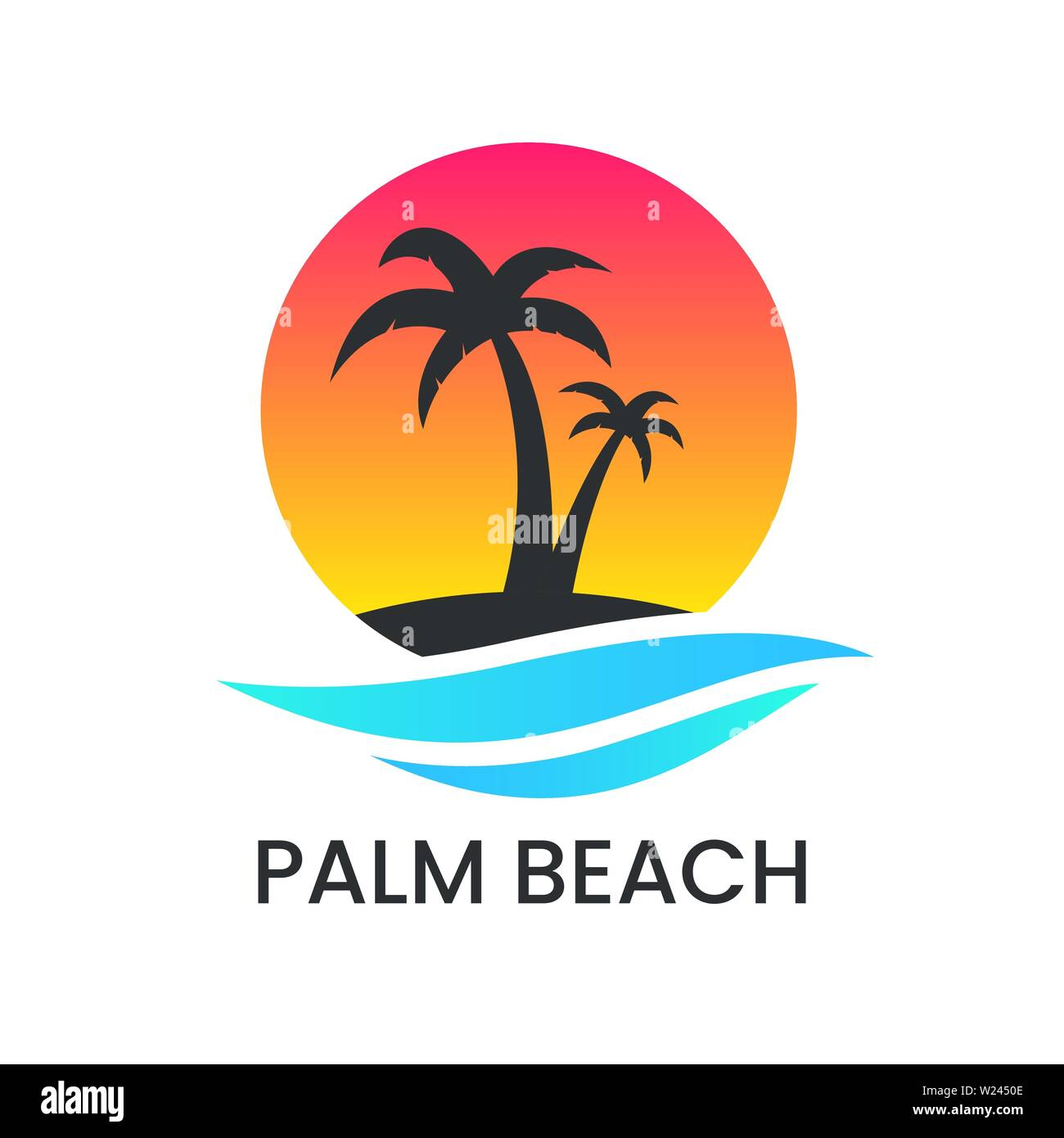 Beach sunset logo on white backdrop. Palm tree silhouette and blue wave. Vacation logotype. Travel agency template. Ocean coast and water. Summer Stock Vector
