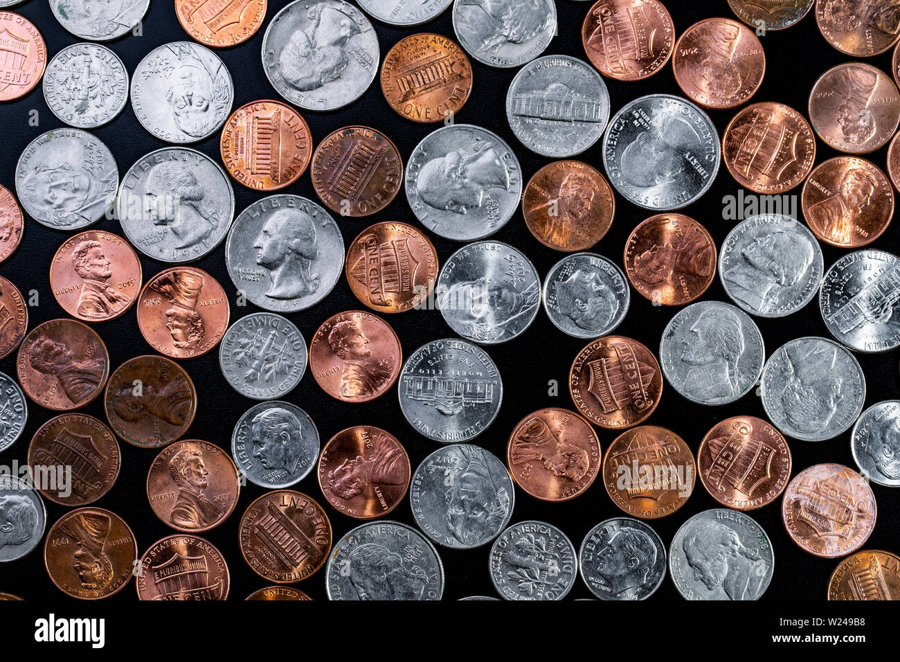 Coin background  Pennies/Quarters/ Cents Stock Photo