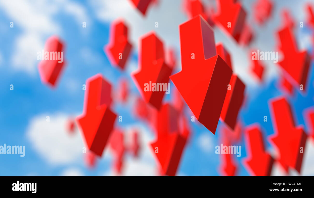 Red menacing arrows raining from the sky, symbolizing a downtrend. - Stock Image