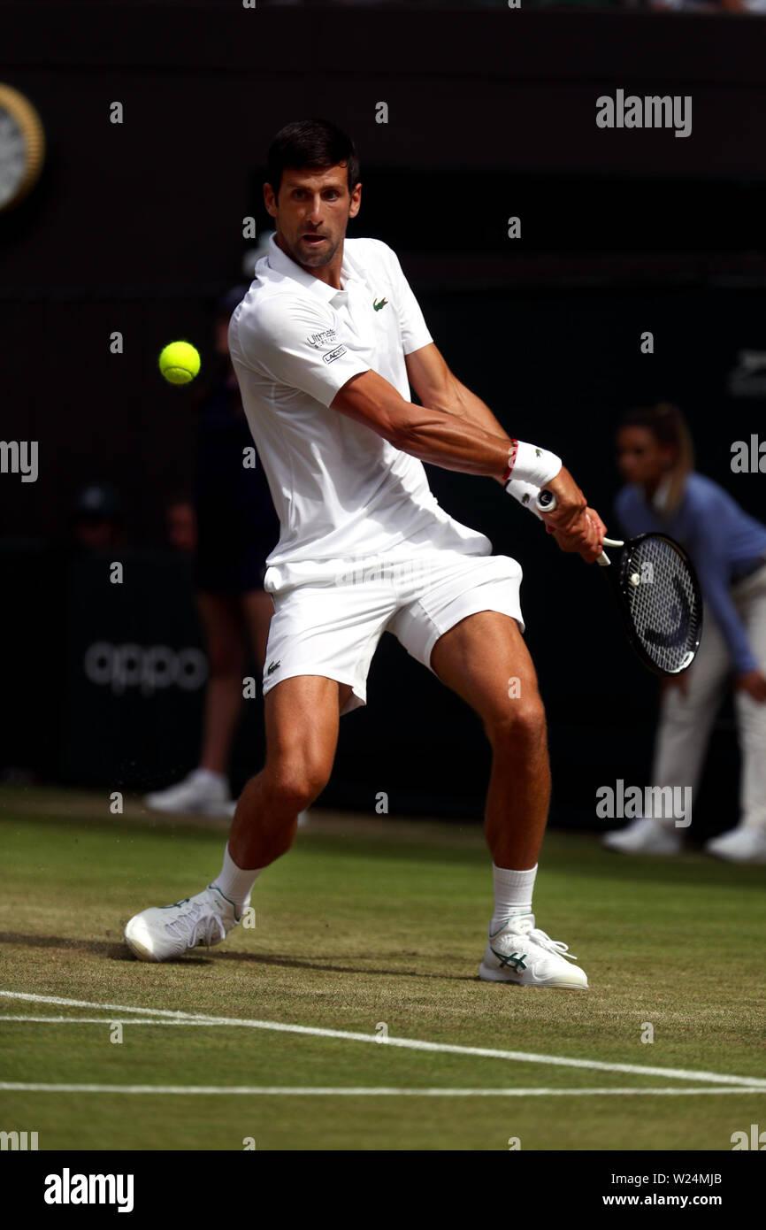 London, UK. 05th July, 2019. Wimbledon, 5 July 2019 - Novak Djokovic during his second round match against Hubert Hurkacz of Poland today at Wimbledon. Credit: Adam Stoltman/Alamy Live News Stock Photo