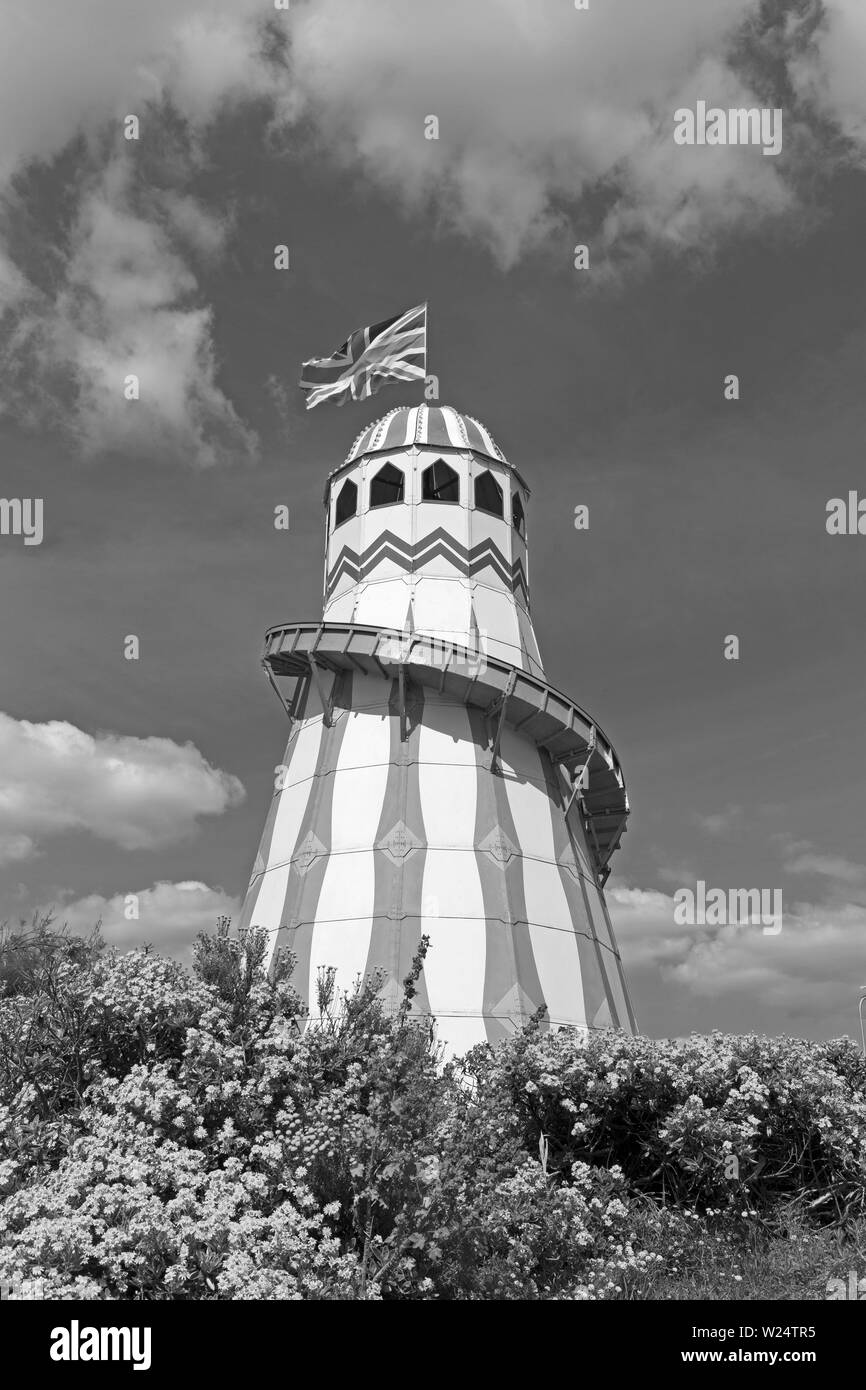 A helter-skelter on the Beach Lawns in Weston-super-Mare UK during the annual Weston Air Festival. - Stock Image