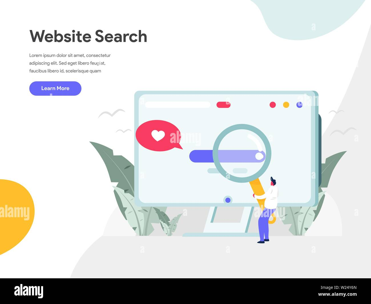 Website Search Illustration Concept. Modern flat design concept of web page design for website and mobile website.Vector illustration EPS 10 - Stock Image