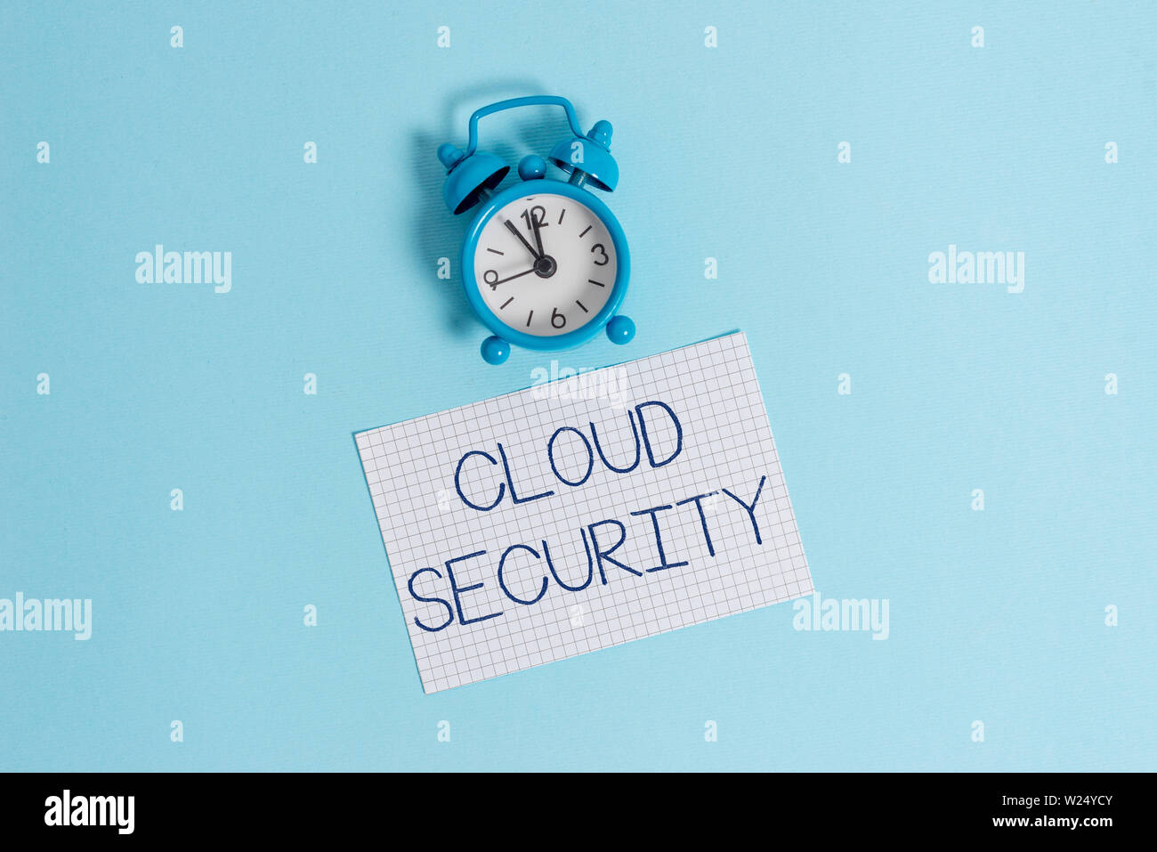 Word writing text Cloud Security. Business photo showcasing Protect the stored information safe Controlled technology Vintage alarm clock wakeup squar - Stock Image