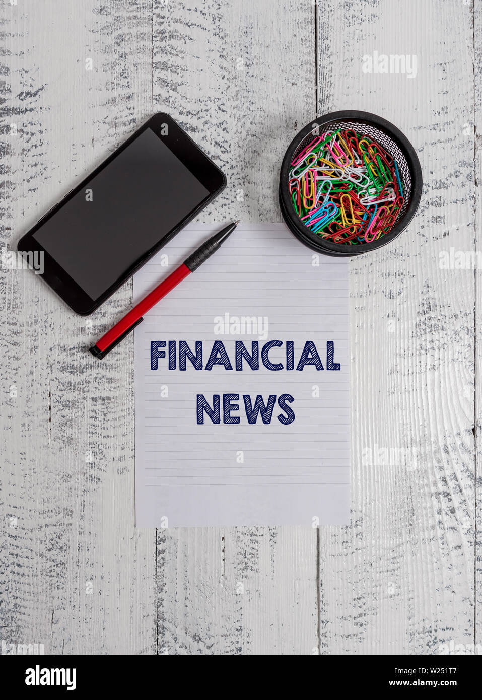Conceptual hand writing showing Financial News. Concept meaning Investment banking Fund analysisagement Regulation and trading Smartphone paper sheet - Stock Image