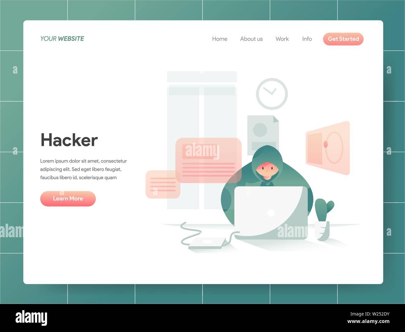 Hacker Illustration Concept. Modern design concept of web page design for website and mobile website.Vector illustration EPS 10 - Stock Image