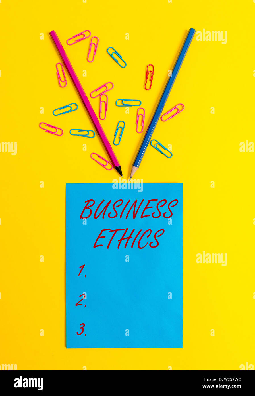 Word writing text Business Ethics. Business photo showcasing Moral principles that guide the way a business behaves Blank paper sheet message reminder - Stock Image