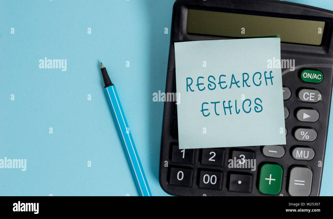 Conceptual hand writing showing Research Ethics. Concept meaning interested in the analysis ofethicalissues that raised Electronic calculator sticky n - Stock Image