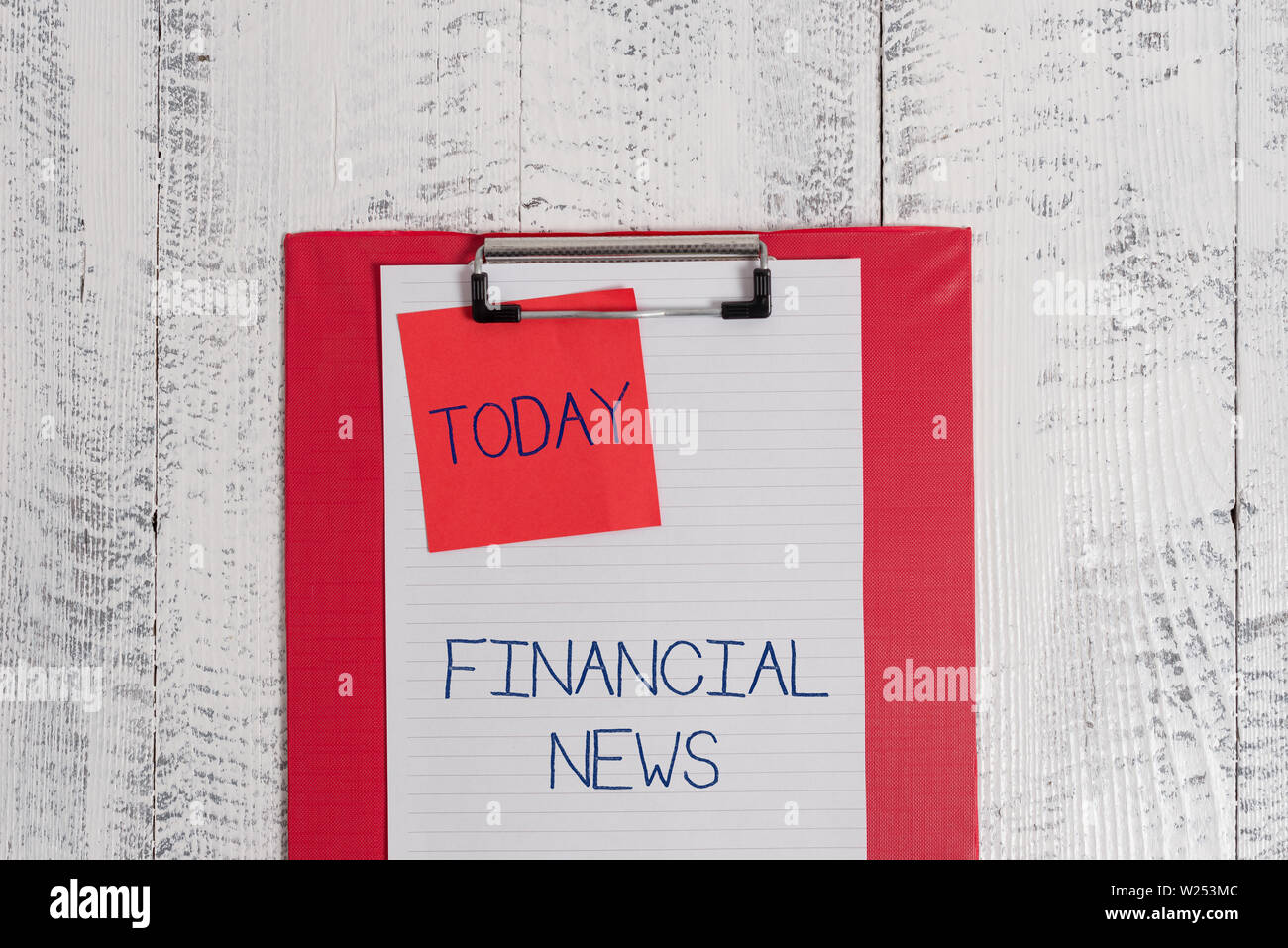 Conceptual hand writing showing Financial News. Concept meaning Investment banking Fund analysisagement Regulation and trading Colored clipboard blank - Stock Image