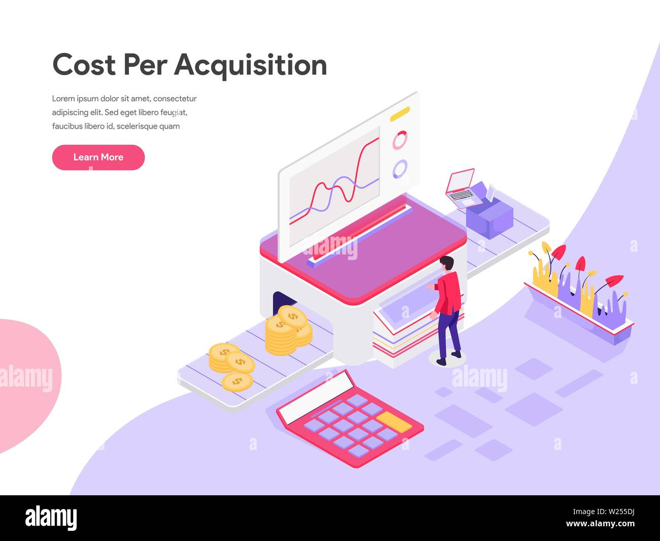 Landing Page Template Of Cost Per Acquisition Isometric Illustration Concept Isometric Flat Design Concept Of Web Page Design For Website And Mobile Stock Vector Image Art Alamy