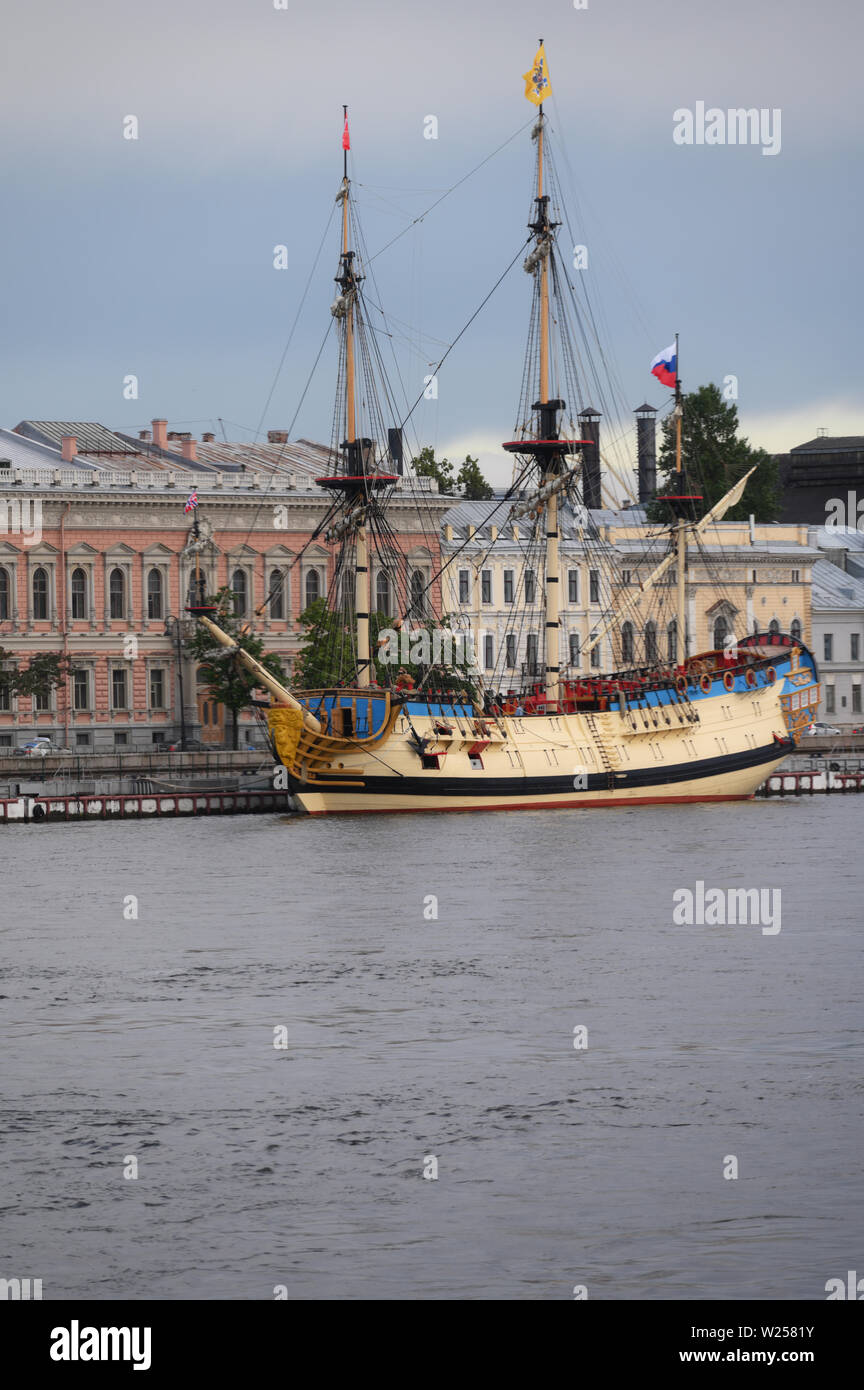 Historical ship Poltava on the English Embankment in St. Petersburg, Russia Stock Photo