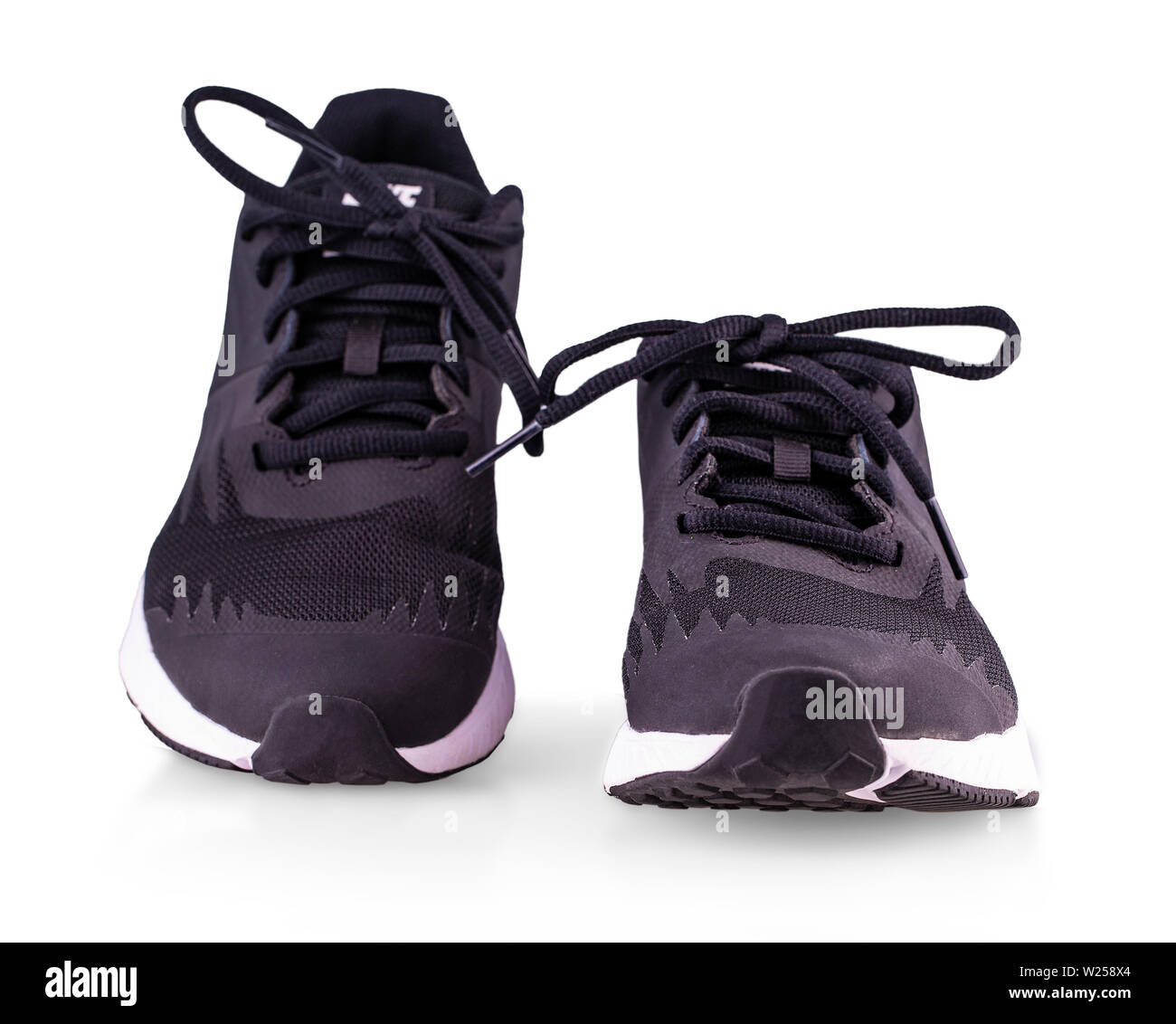 Black sneakers running shoes isolated on white background Stock Photo