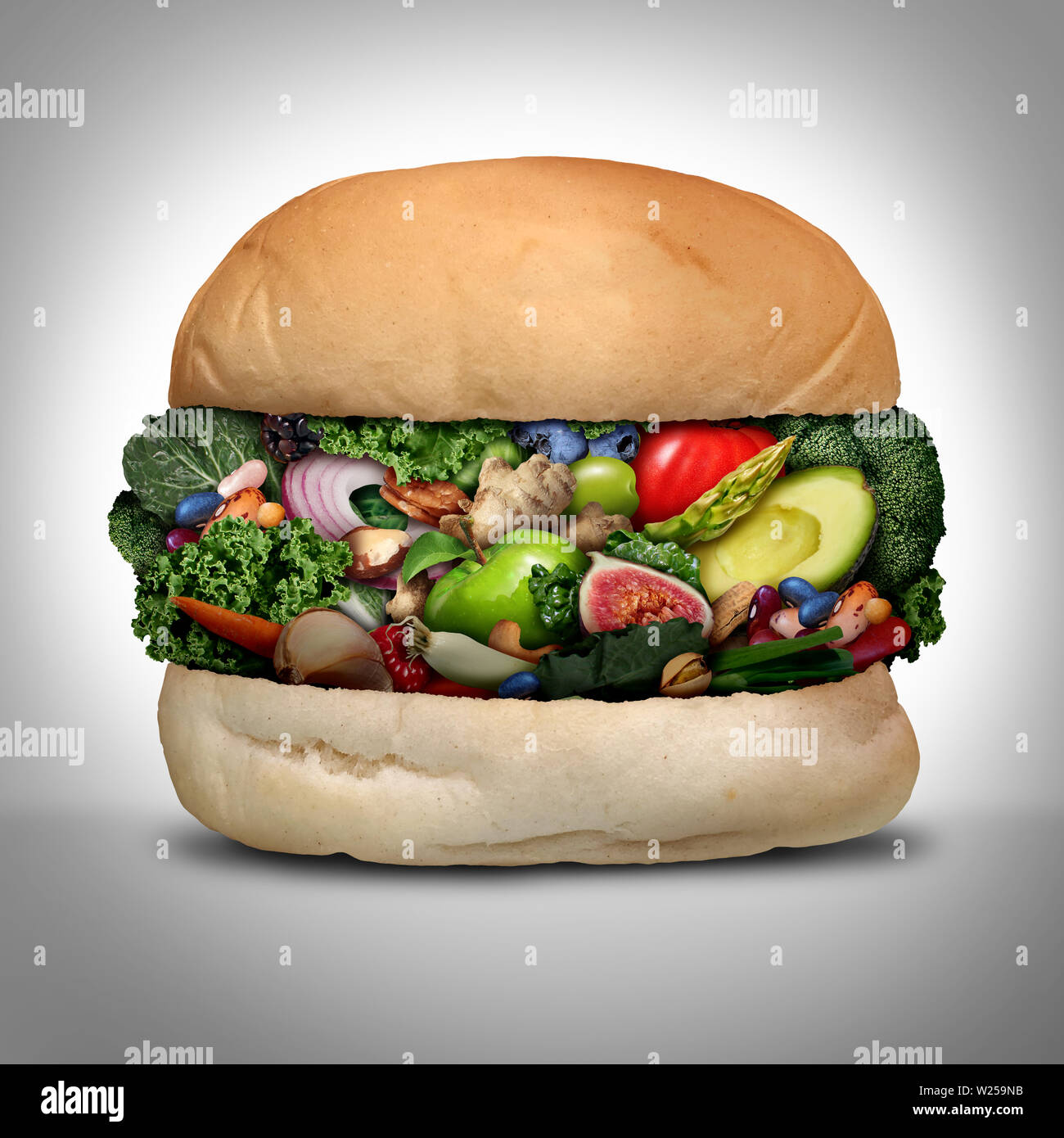 Vegan burger concept as a healthy green hamburger made of fresh organic beans vegetables fruit and nuts as a nutritious low cholesterol cruelty free. Stock Photo