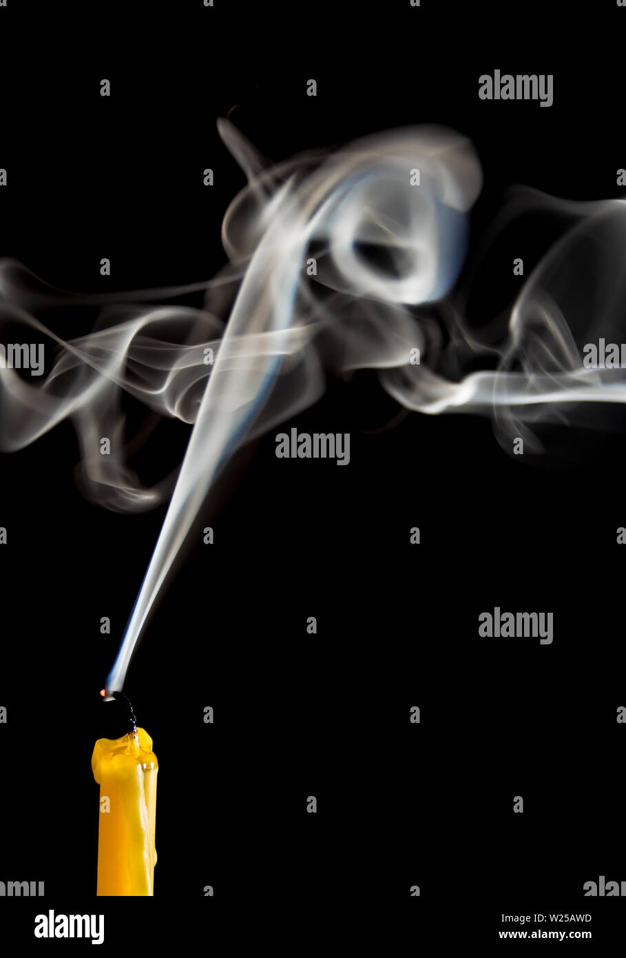 Texture of white smoke when the candle goes out - Stock Image