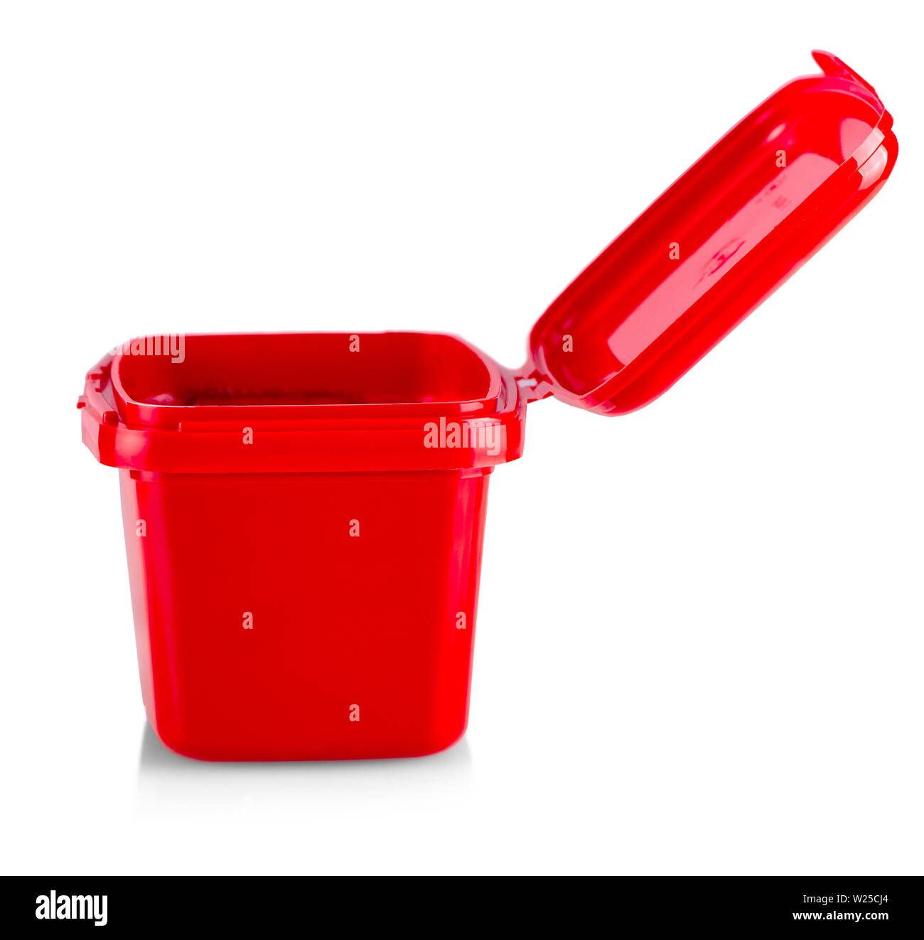 Plastic red box on a white background - Stock Image