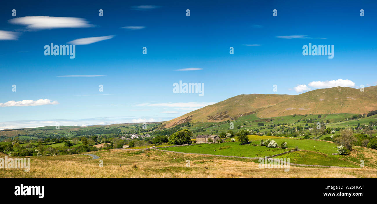 UK, Cumbria, Sedbergh, Frostrow and Soolbank, panoramic view of Howgill Fells from Tom Croft Hill viewpoint on road to Hawes through Garsdale - Stock Image