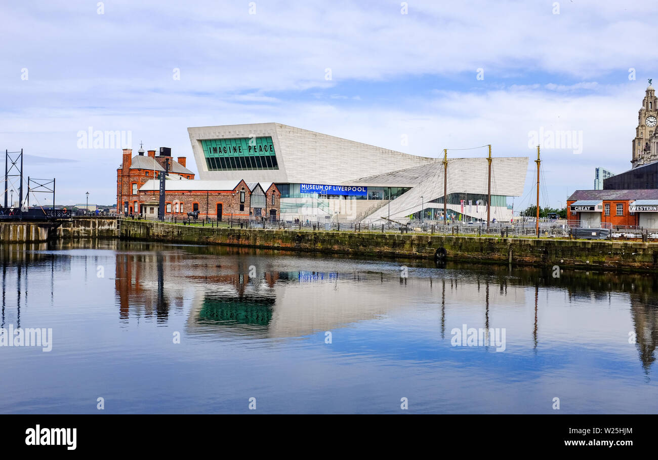 Liverpool Merseyside UK - Museum of Liverpool with Imagine Peace exhibition by John & Yoko - Stock Image