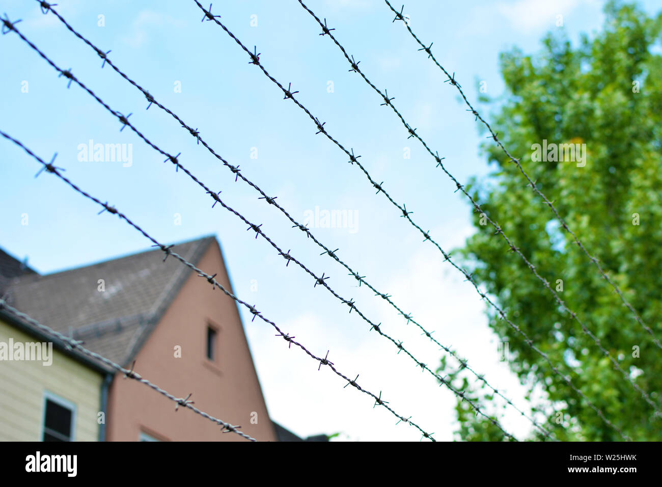 Barbed wire fence with blurry building and blue sky in background - Stock Image