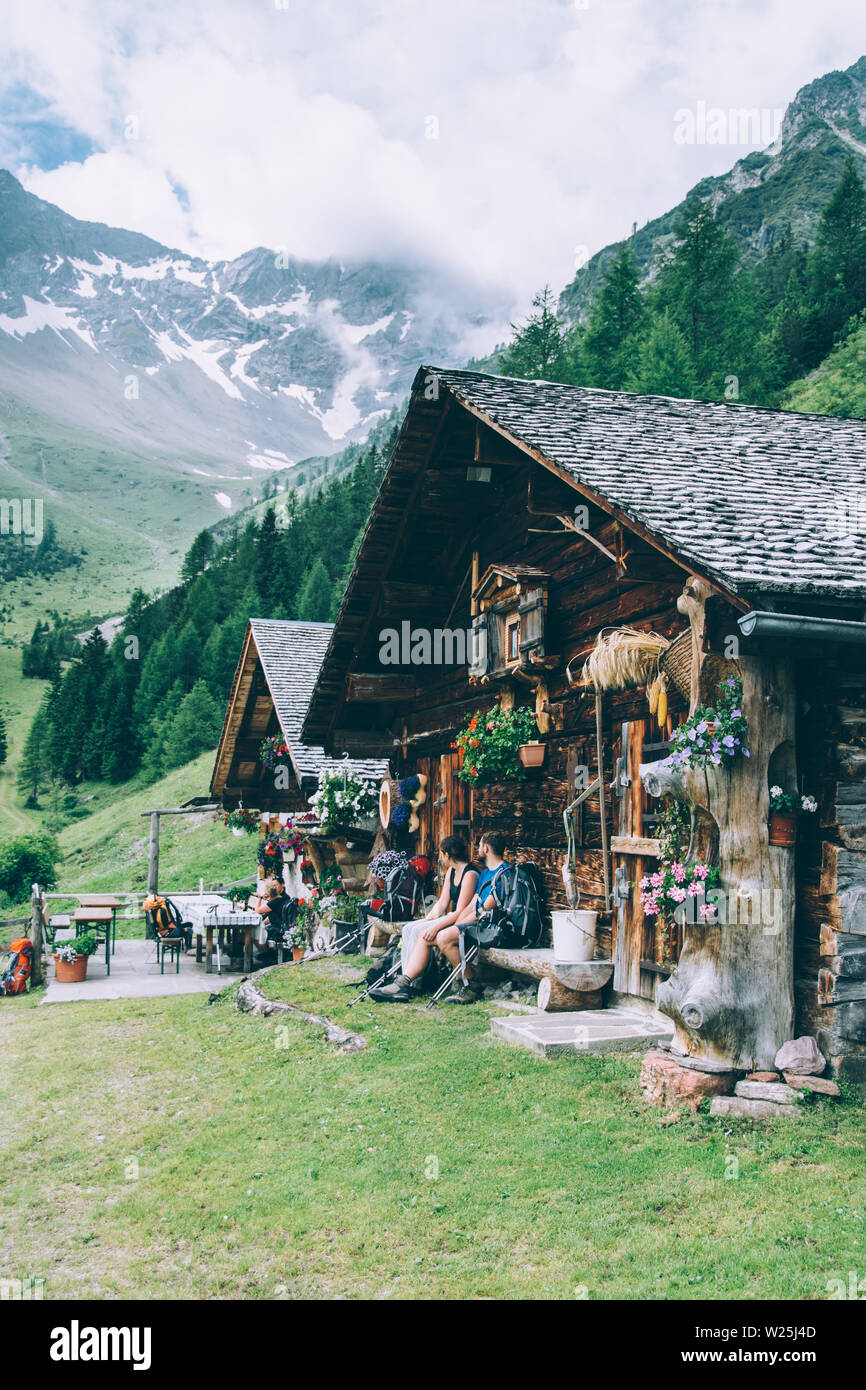 Mountain hut in an idyllic Austrian alpine landscape - Stock Image