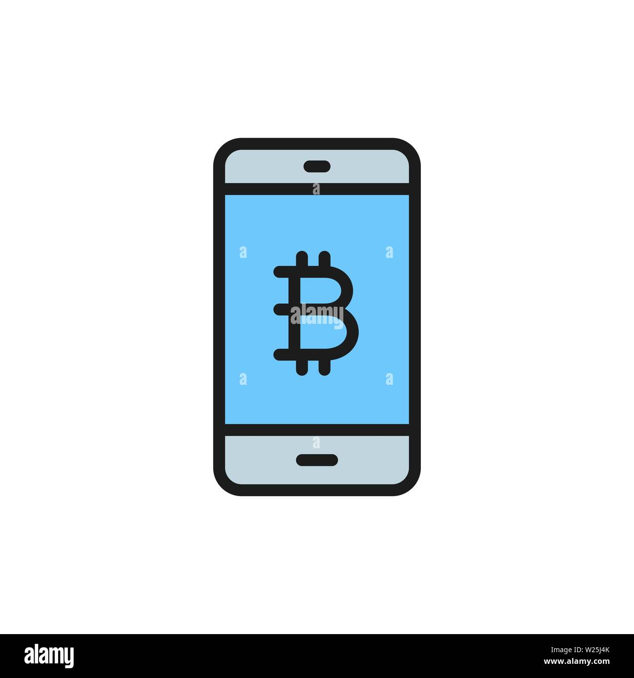 Smartphone display with bitcoin sign, blockchain flat color icon. - Stock Image