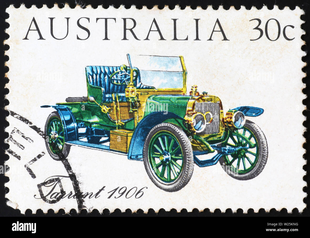 Ancient car of 1906 on australian postage stamp - Stock Image