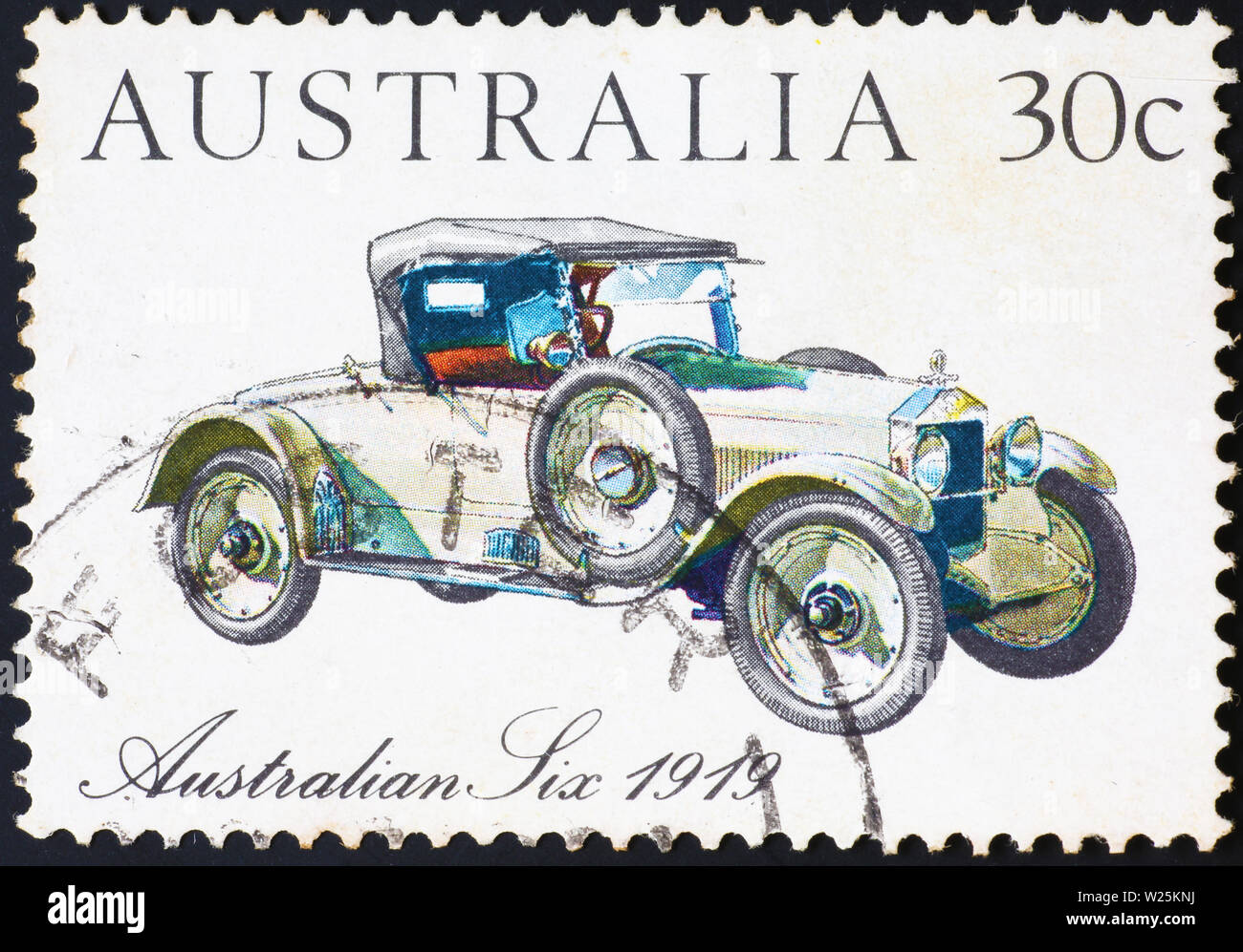 Ancient car of 1919 on australian postage stamp - Stock Image