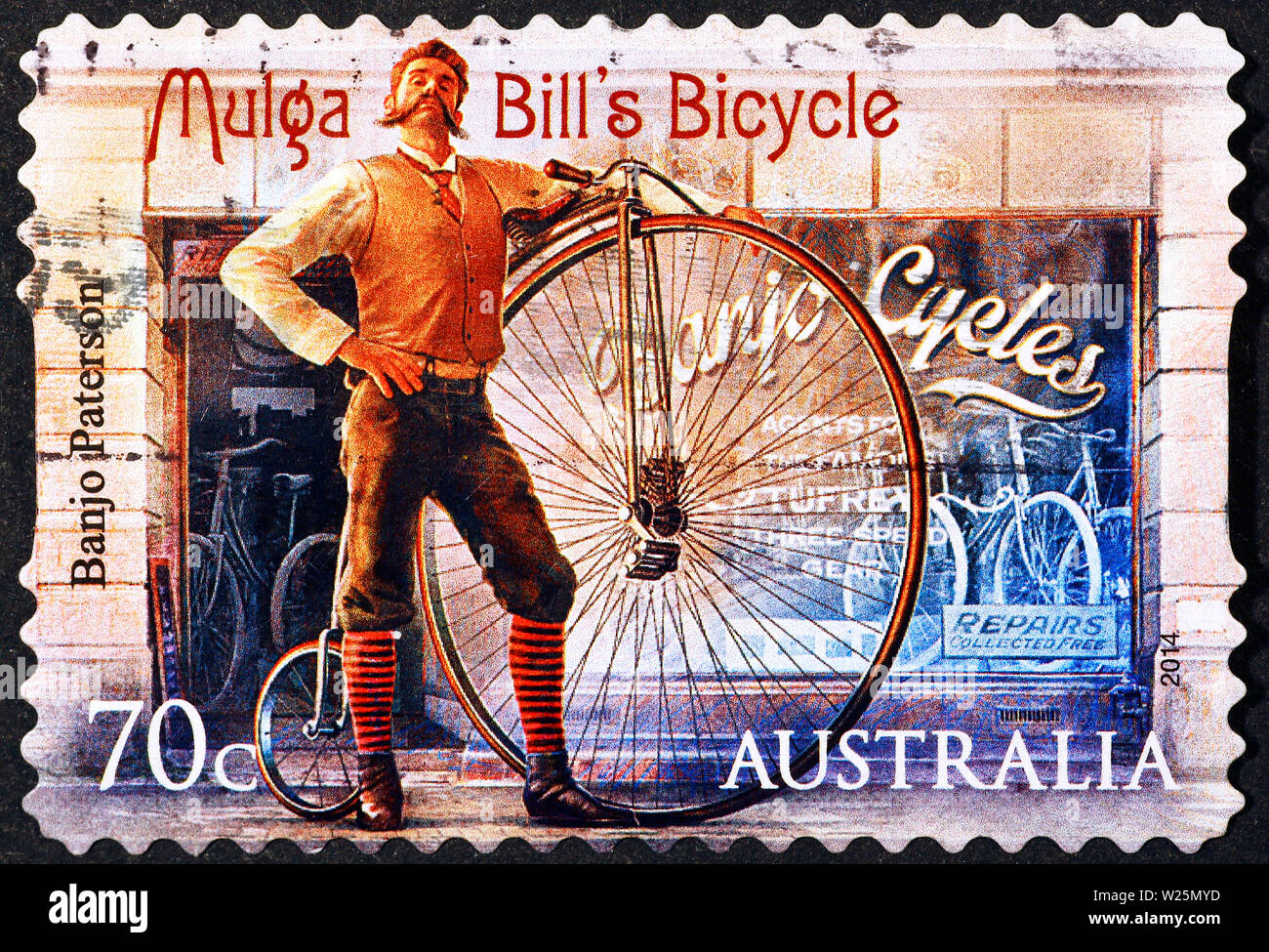 Old advertising of bicycles on australian postage stamp Stock Photo