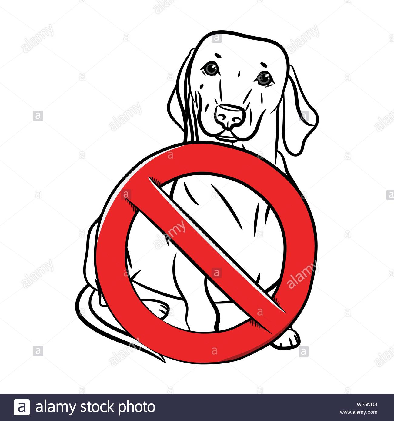 A dachshund dog is sitting standing and a sign of prohibition in the outline style. Stop the dog. - Stock Image