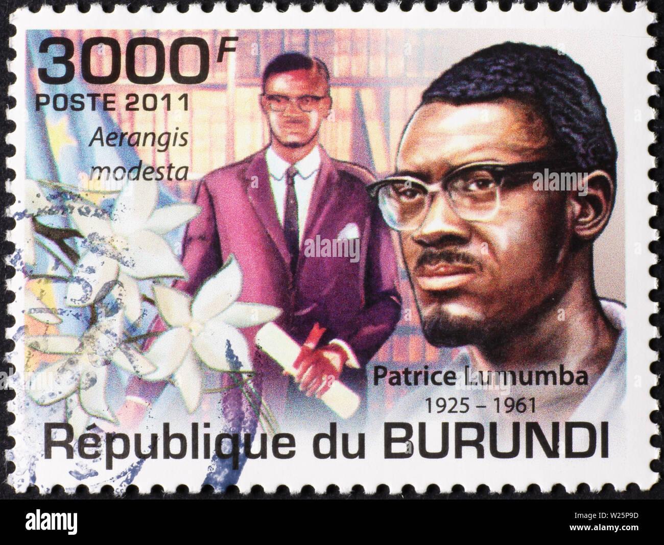 Patrice Lumumba on postage stamp of Burundi - Stock Image