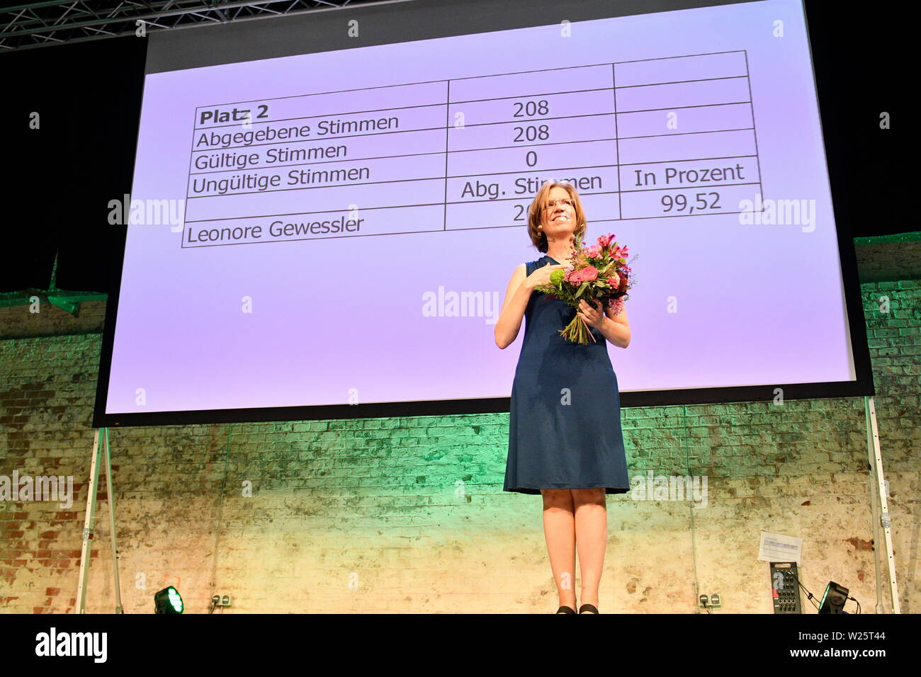 """Vienna, Austria. 06th July, 2019. 41st Federal Congress of the Greens(GRUENE). The list places 1 to 14 of the list of candidates for the National Council election 2019 are selected in the """"Expedithalle Wien"""". Leonore Gewessler was elected with 99, 52% of the vote. Credit: Franz Perc / Alamy Live News Stock Photo"""