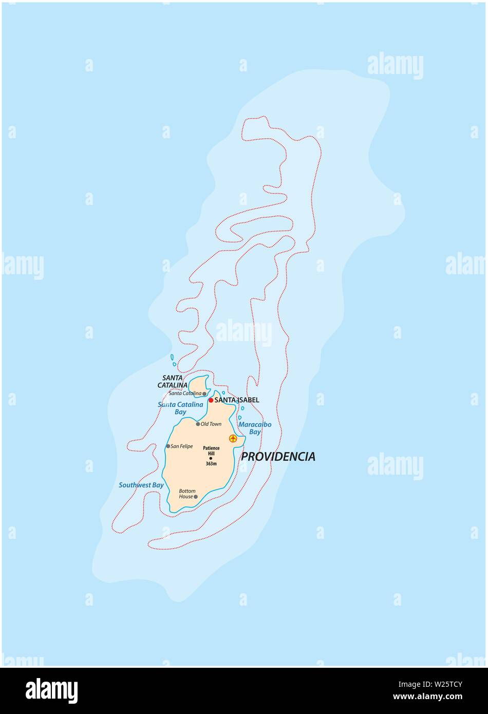 small outline map of the colombian caribbean islands Providencia and Santa Catalina - Stock Vector