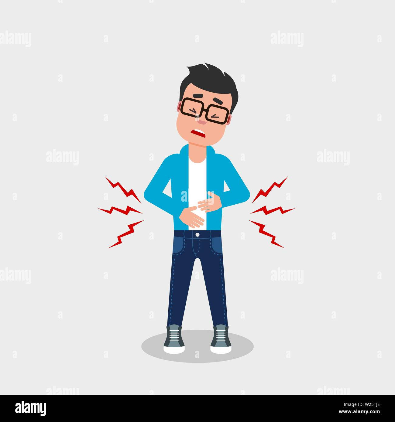 Young guy with glasses having stomach ache. Digestive problems, abdominal pain, food poisoning,concept. Character holding his belly with. Vector, flat - Stock Vector
