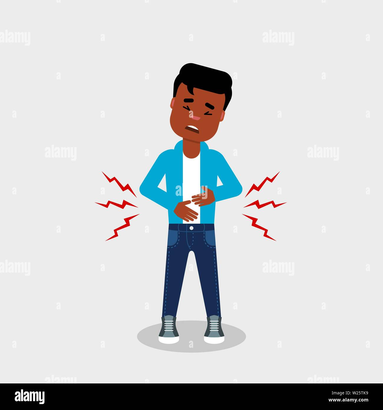 Young African American man having stomach ache. Digestive problems, abdominal pain, food poisoning,concept. Character holding his belly. Vector, flat - Stock Vector