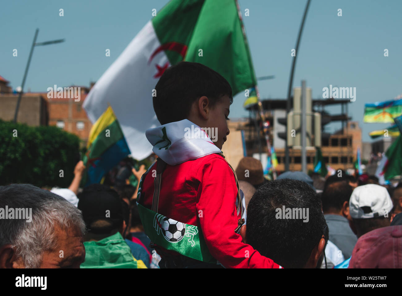 Bejaia, Algeria - 06/21/2019: Manifestation against Gaid Salah after  his last speech about forbidding the Amazigh emblem in protests. Stock Photo