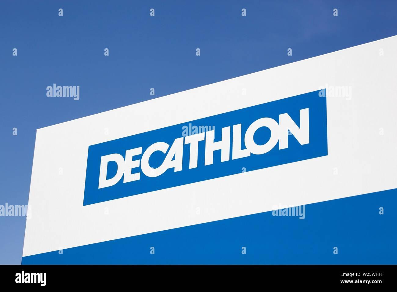 e11ead6e0 Saint Egreve, France - June 19, 2019: Decathlon sign on a panel.