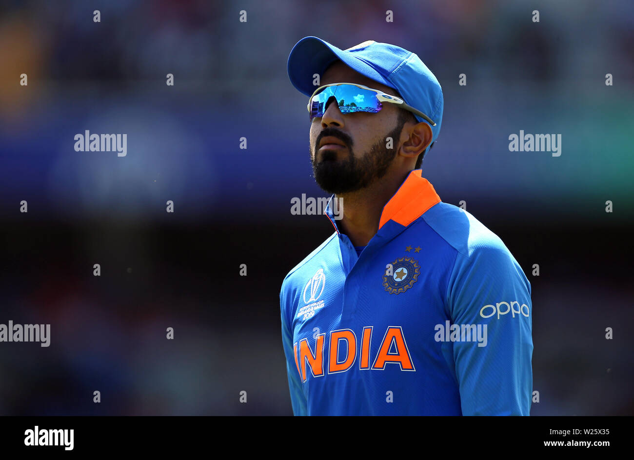 India's KL Rahul during the ICC Cricket World Cup group stage match at Headingley, Leeds. - Stock Image