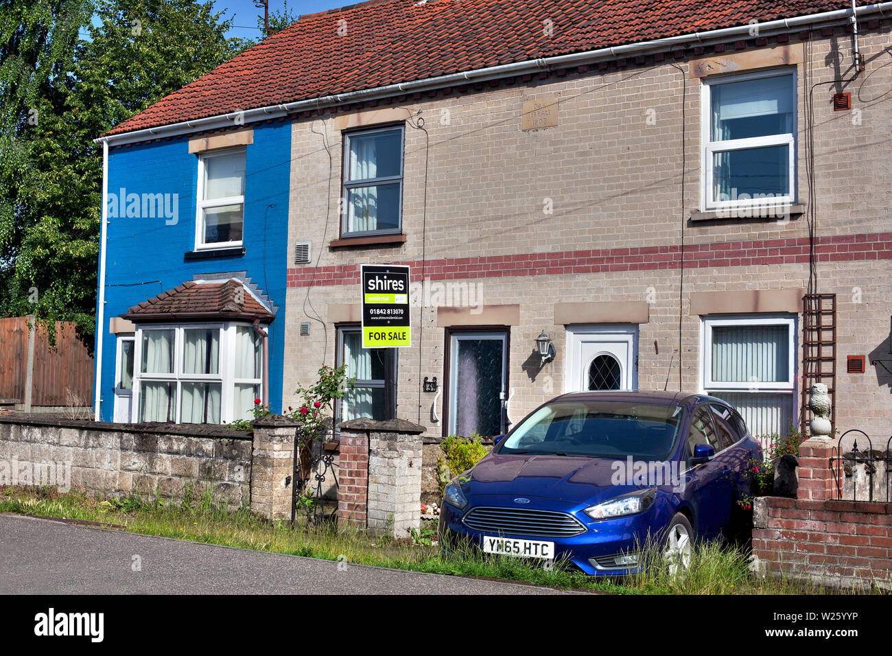 Small terraced house for sale, Swatham, Norfolk, U.K - Stock Image