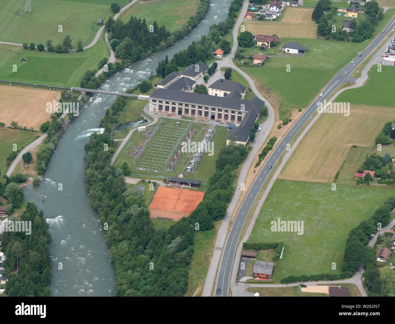 Hydro-Electric Storage Power Plant - Aerial View - Reisseck, Carinthia, Austria Stock Photo