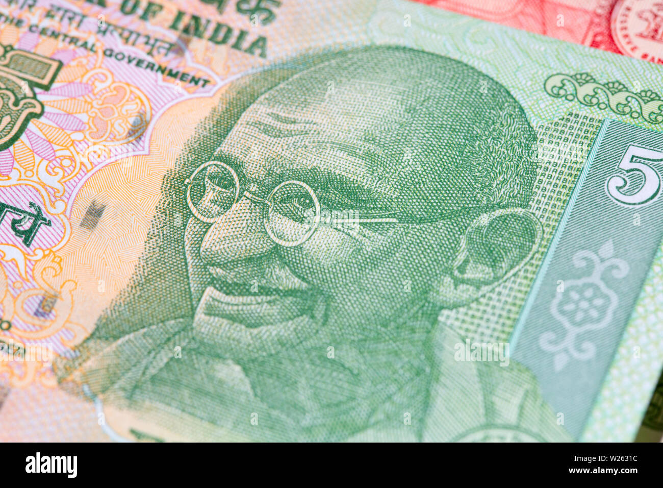 Collection of the Indian banknotes - Stock Image