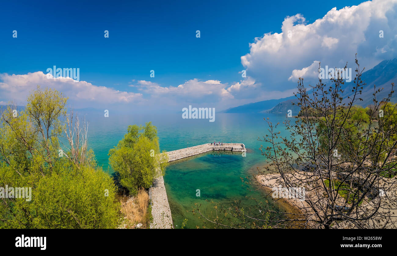 Ohrid, Northern Macedonia -  April 2019 : Small landing port on the shore of Lake Ohrid in Sveti Naum Stock Photo