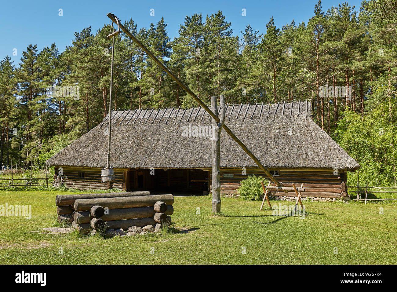 TALLINN, ESTONIA - JULY 07, 2017: Traditional open air museum, Vabaohumuuseumi kivikulv, Rocca al Mare close to city of Tallinn in Estonia. - Stock Image