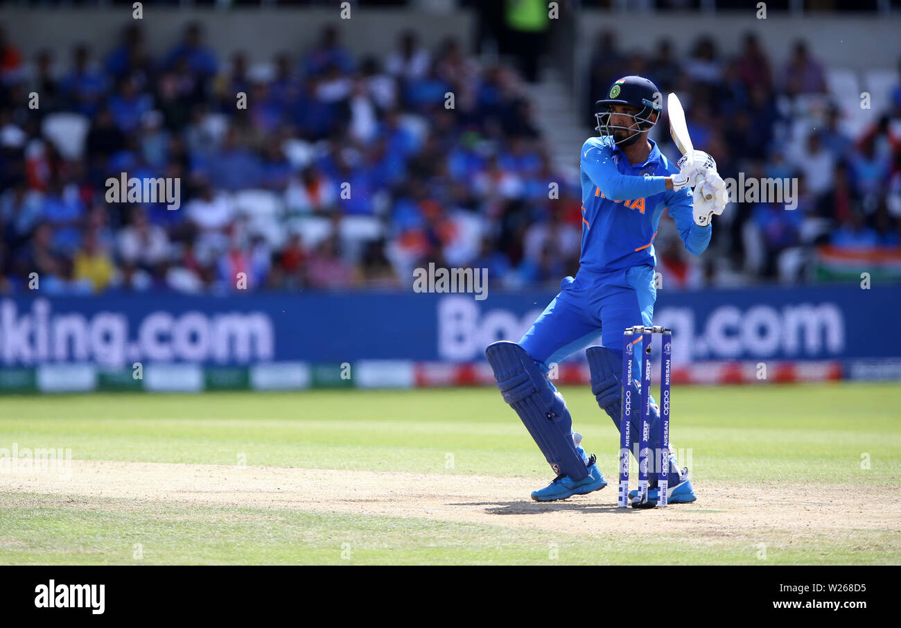 India's KL Rahul during the ICC Cricket World Cup group stage match at Headingley, Leeds. Stock Photo