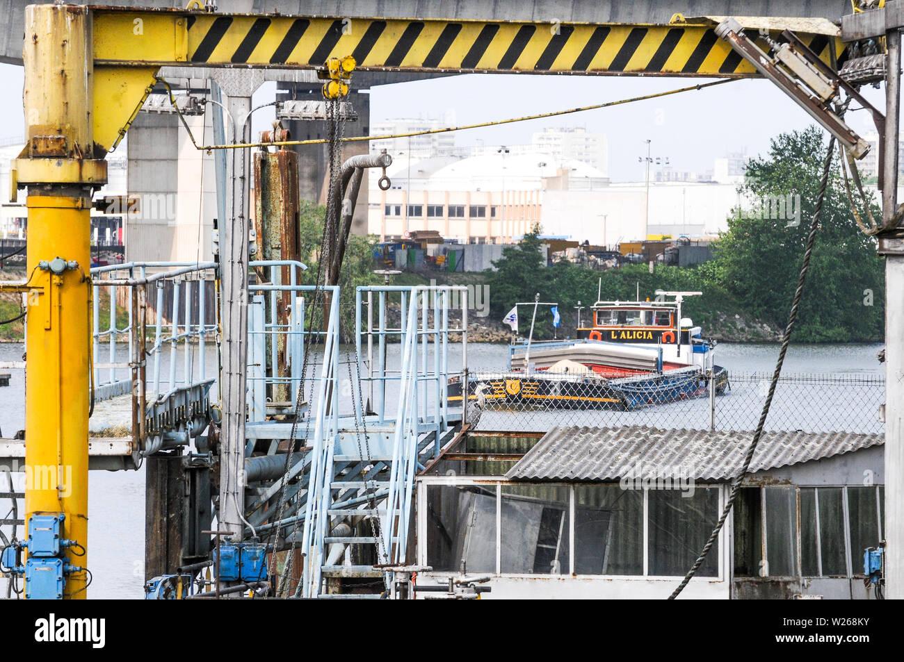 Genevilliers harbor, Hauts-de-Seine, Ile-de-France, France - Stock Image