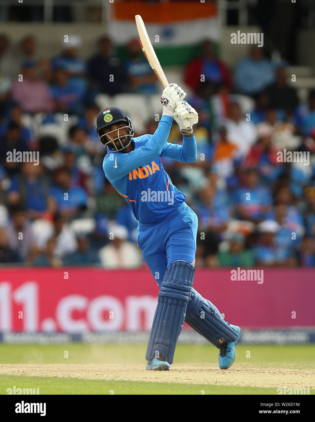 India's KL Rahul hits a 6 during the ICC Cricket World Cup group stage match at Headingley, Leeds. - Stock Image