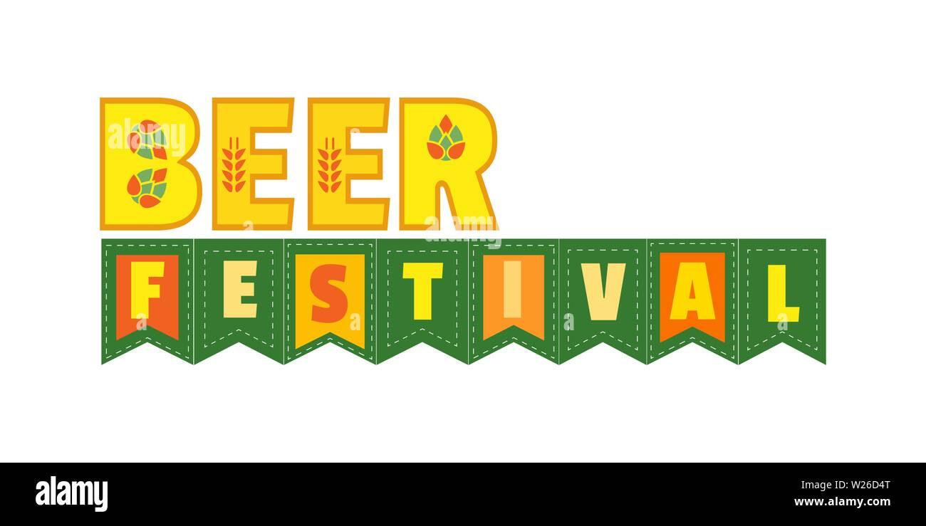 Beer fest hand drawn flat color vector lettering - Stock Image