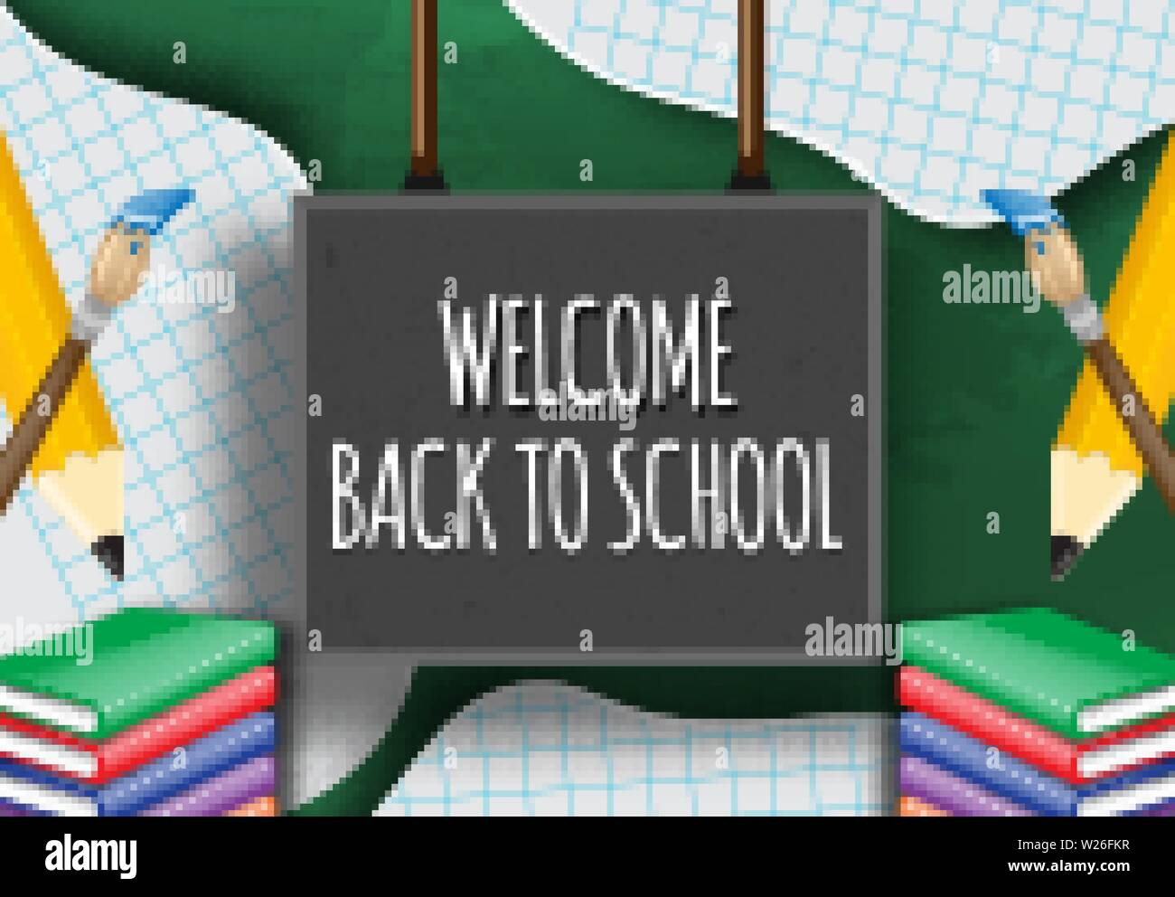 Hand writing welcome back to school on a blackboard - Stock Image