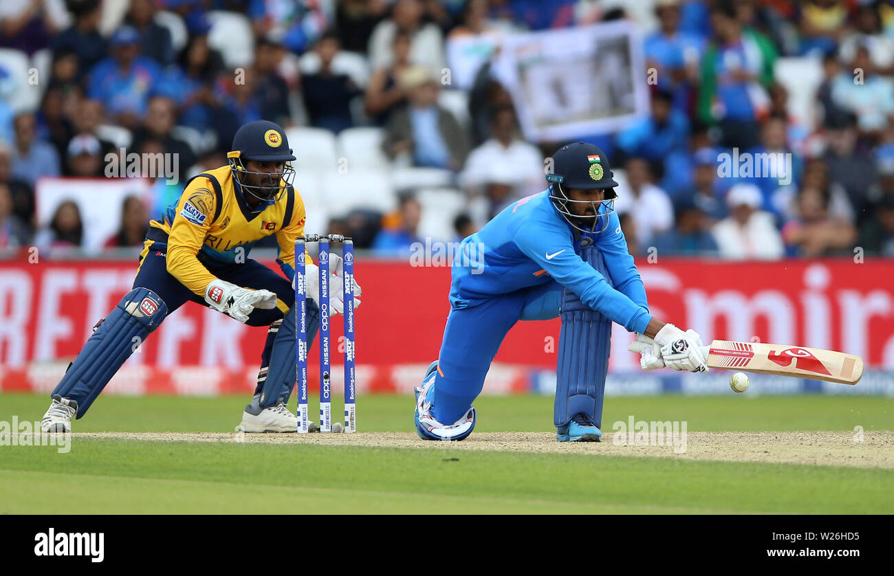 India's KL Rahul sweeps a shot during the ICC Cricket World Cup group stage match at Headingley, Leeds. - Stock Image