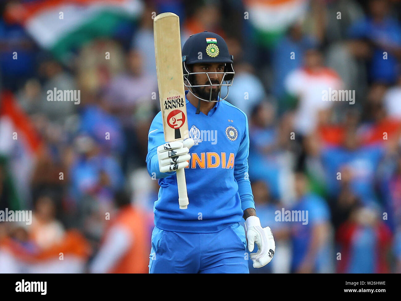India's KL Rahul celebrates his century during the ICC Cricket World Cup group stage match at Headingley, Leeds. Stock Photo