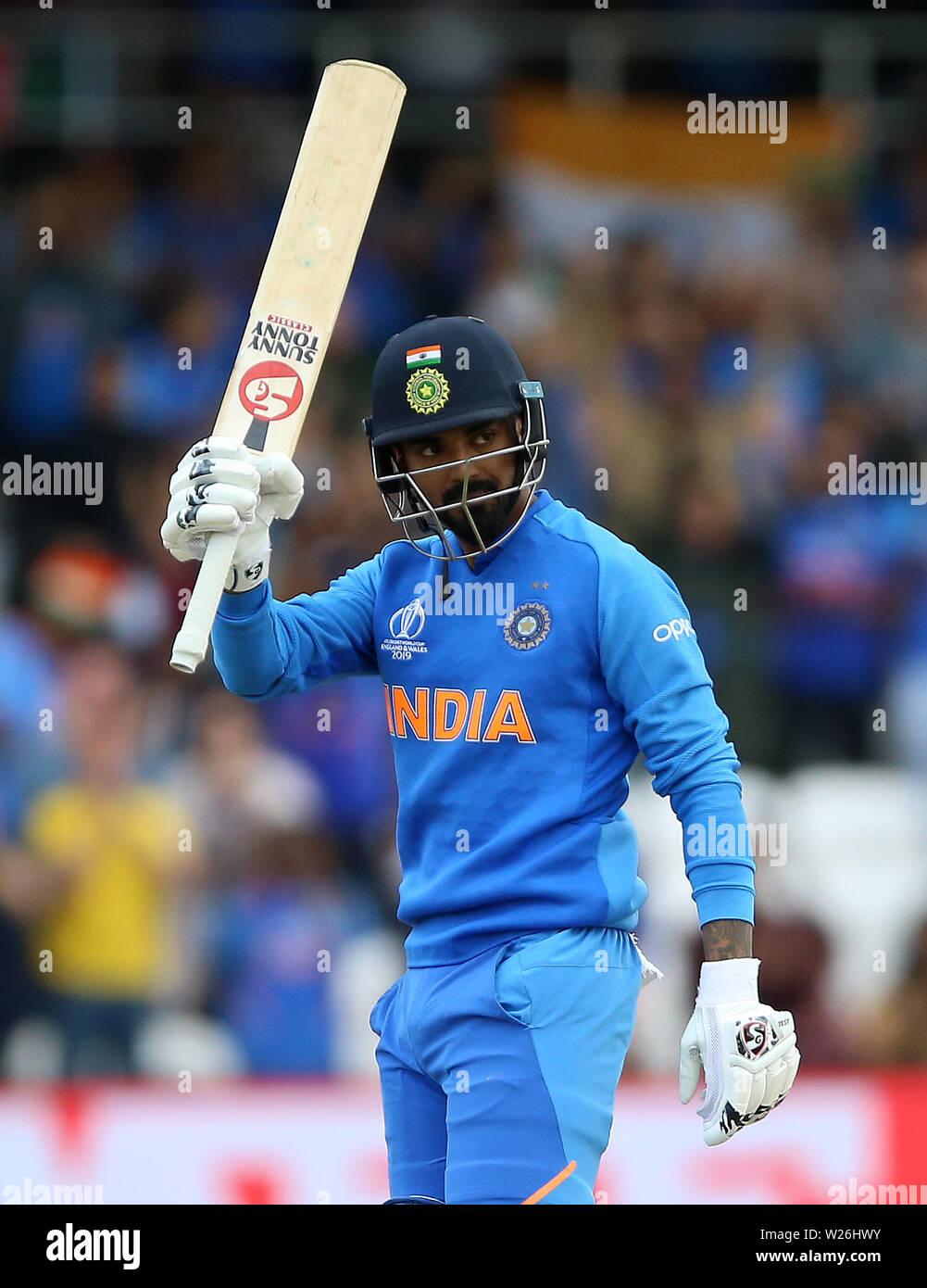 India's KL Rahul celebrates his century during the ICC Cricket World Cup group stage match at Headingley, Leeds. - Stock Image